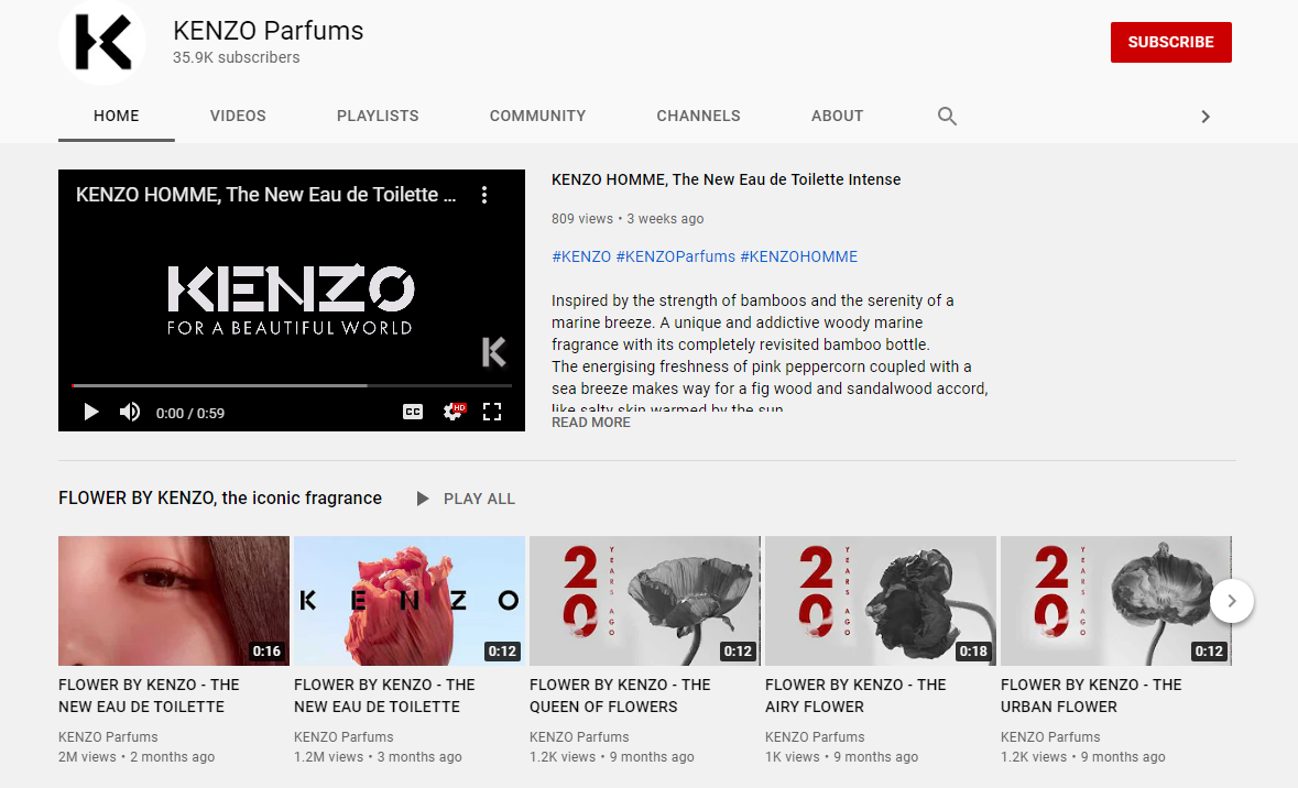 Kenzo Parfums YouTube channel